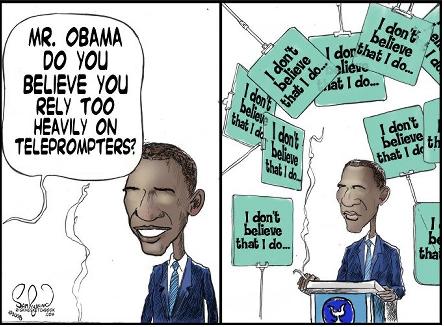 Obama missing TelePrompter
